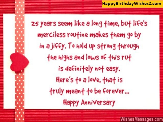 25th wedding anniversary wishes for mom and dad